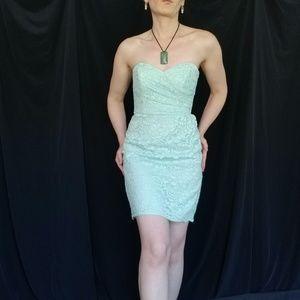 David's Aqua Green Strapless Bridesmaid Dress Sz 2